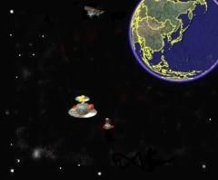 大型宇宙船に接近...