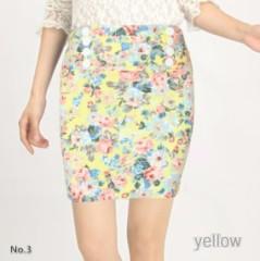 ウエストゴム入り花柄スカート